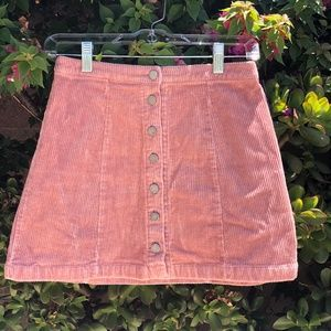 Velvet Ribbed Pink Skirt